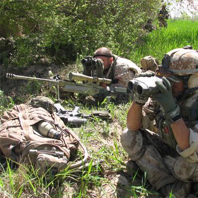 Danish sniper team observing in Afhanistan's Green Zone